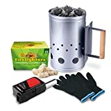 HOMENOTE Rapid Charcoal Chimney Starter Set Fireplace...