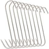 10Pcs 5 Inches Meat Hooks, Stainless Steel Butcher...