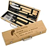 Personalized BBQ Grilling Set with 5 Tools, Laser...