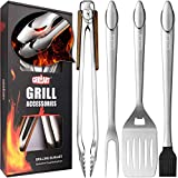 GRILLART Heavy Duty BBQ Grill Tools Set. Snake-Eyes...