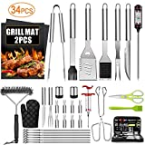 34PCS BBQ Grill Accessories Tools Set, Stainless Steel...