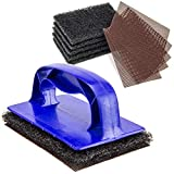 [5 Grill Screens, 5 Pads, 1 Holder Pack] Grill Cleaning...