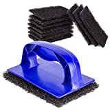 [10 Pads, 1 Holder Pack] Grill Cleaner Pads and Holder...