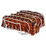Rib Rack, Stainless Steel Roasting Stand, Holds 4 Ribs...