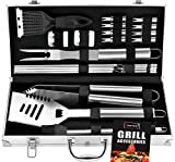 ROMANTICIST 20pc Heavy Duty BBQ Grill Tool Set in Case...