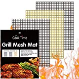 BBQ Grill Mesh Mat Set of 3 - Non Stick Barbecue Grill...